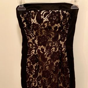 Cache black lace strapless dress